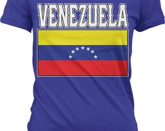 Venezuela Flag Ladies T-shirt, Venezuelan Flag ,Bolivarian Republic of Venezuela , Junior and Women's Venezuelan T-shirts GH_00985