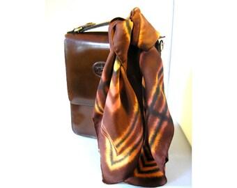 Vintage 1970s ladies head scarf brown and orange retro silky hair scarf bandana head band belt scarf tie dye like pattern accessories (X)