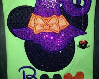 Halloween Mickey Ears appliqued shirt.