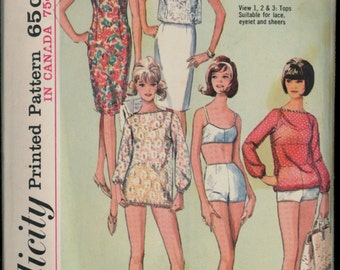 1960s 2 pc Bathing Suit Fitted Dress Cover Up Simplicity 5978 Size 12 Bust 32 Sewing Sheath Over Blouse