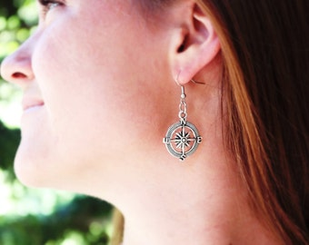 Antique silver compass earrings. Dangle earrings. Nautical earrings.