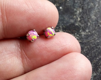 Pair of Pink Fire Opal (4mm) Stone Earrings 316L Surgical Steel Post Studs Jewelry