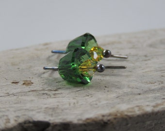 Crystal Flower Earrings Green with Yellow
