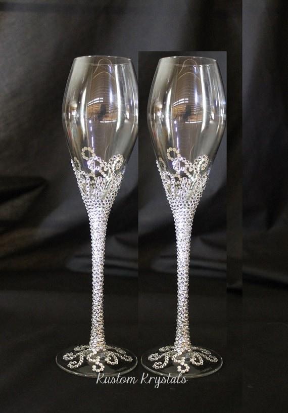 Customizable Swarovski Crystal Toasting Flutes By