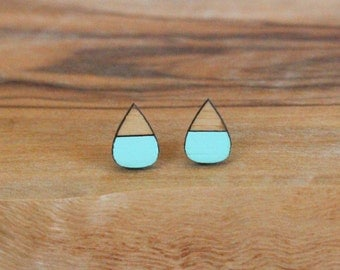 Tear Drop Natural Bamboo Earrings-Turqouise