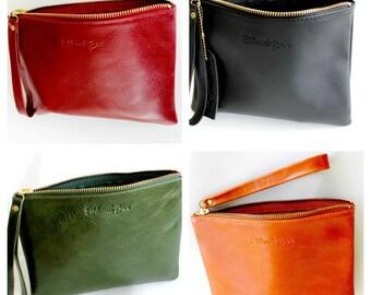 Leather clutch purse in khaki green , Wallet clutch