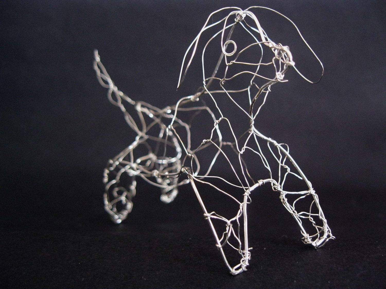 Wire dog dachshund figurine metal dog art standing hound for Dog wire art