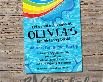 Rainbow Pool Party, Birthday Invitation, Printable, DIY, swim party