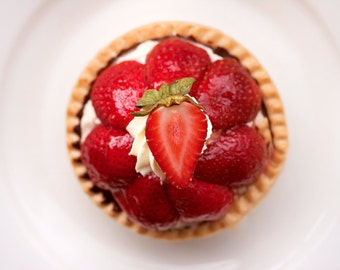 Strawberry Tart Photo - Kitchen Art, Still Life Fine Art Photo, Food Photography, Cottage Chic, Apartment Art, Gifts For Foodies, Photo Gift