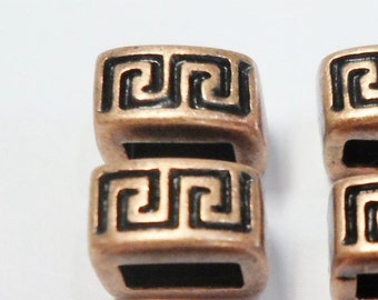 SALE: 2 Antique Copper 5mm Bars, High Quality, Meander Sliders, Leather cord, 5mm Flat Leather Finding, Jewelry supplies,