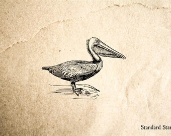 Pelican Rubber Stamp - 2 x 2 inches