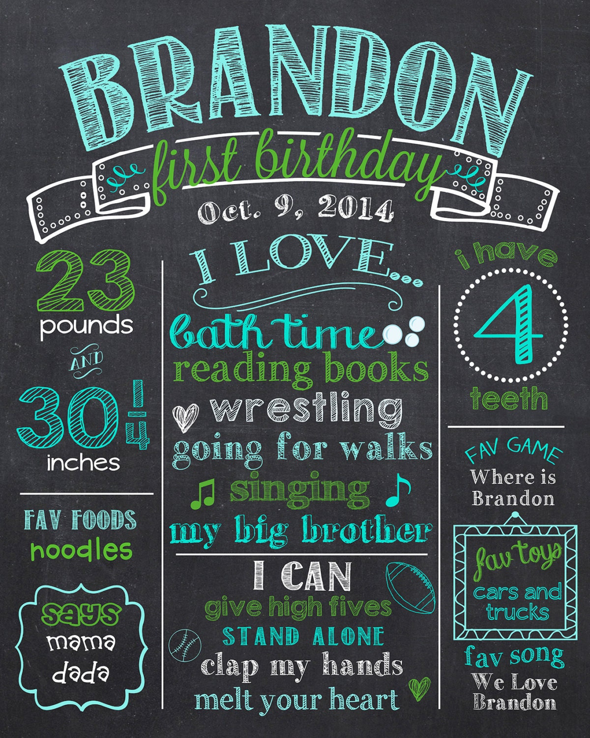 Boy first birthday chalkboard poster blue and green 1st for 1st birthday chalkboard sign template free
