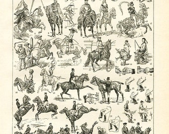 """Antique French Etching 1898's  - Horseriding  - 7.8"""" x 11.4 inches  - A33 - A34"""