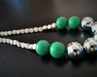 Womens Silver Chunky Necklace, Green & White Accents, Statement Necklace, Beaded Necklace, Handmade, Great for any occasion! One-of-a-kind!