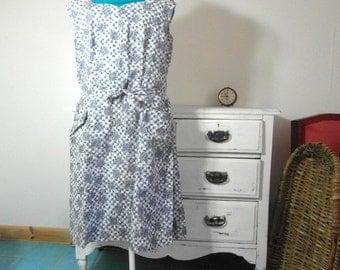 1950,s dress, cotton dress, blue dress, summer dress, granny dress, size M, French vintage, vintage clothing, retro clothes.