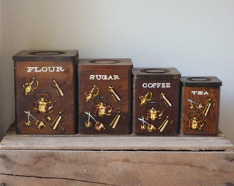Vintage Wooden Kitchen Canisters