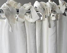 Linen curtain  Custom length Ties top Window curtains  - Unlined or blackout curtains