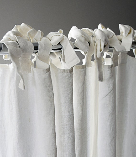 linen curtain custom length ties top window curtains. Black Bedroom Furniture Sets. Home Design Ideas
