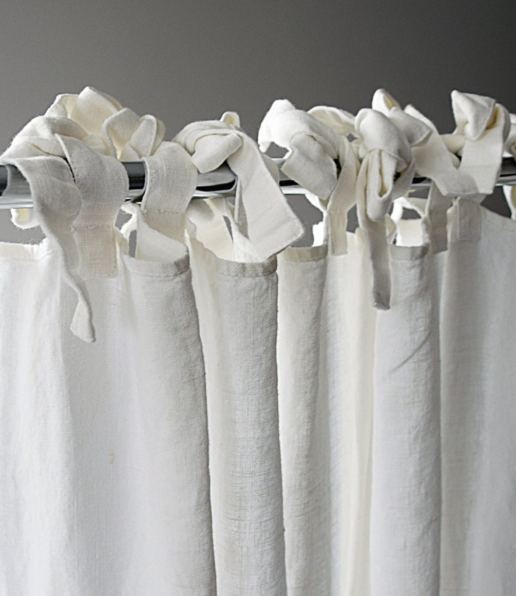 Drape Ties: Linen Curtain Custom Length Ties Top Window Curtains