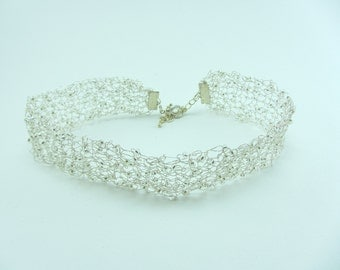 Silver knitted wire choker, Hand knitted necklace, Jewellery