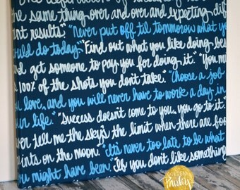 Wedding Vows Wall Song Lyric Art Painting Anniversary Gift Canvas Painting with Wedding Vows Anniversary Gift Home Decor Navy Blue & White