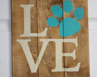 Dog Love sign painted on  reclaimed wood.