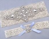 Something Blue Wedding Garters, Ivory / White Lace Keepsake / Toss Bridal Garter Set, Crystal Rhinestone Custom Garter, Petite to Plus Size