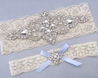 Something Blue Wedding Garters Ivory White Lace Keepsake Toss Bridal Garter Set