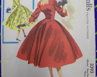 "UNUSED 1955 McCall's 3393 ""Easy to Sew"" Dress Pattern  sz 12 bust 30"