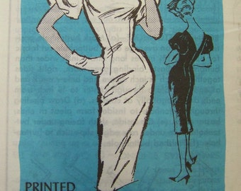 VTG 1950s Prominent Designer John FREDERICS DRESS Mail Order pattern sz 12 UNused