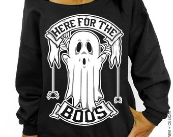 Here for the Boos - Black with White Ink Slouchy Oversized Sweatshirt - Halloween Ghost and Spiders Sweater