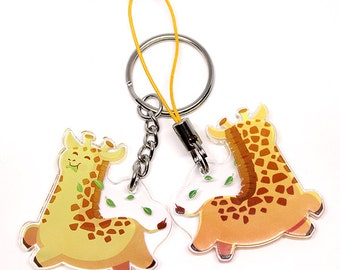 Cute Giraffe Keychain, Cute Giraffe Phone Charm, giraffe art, kawaii, animal lover, cute animal, giraffes, kawaii life, animal keychain