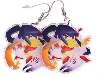 Cute Ninja Earrings, ninja girl, japan, kunoichi, ninja, cute anime, kitsune, chibi anime, kawaii, kawaii anime, moe