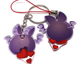 Cute Bat Keychain, Cute Bat Phone Charm, Halloween keychain, halloween phone charm, vampire bat, fat animals, scary accessories, valentines
