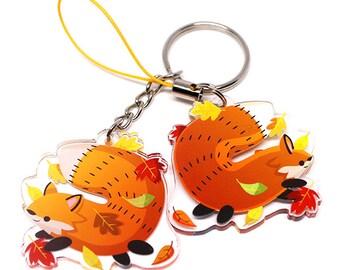 Cute Fox Keychain, Cute Fox Phone Charm, red fox, cute animals, fat animals, kawaii charm, kawaii, wolf, autumn earrings, fall leaves