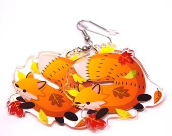 Cute Fox Earrings, red fox earrings, red fox, cute animals, fat animals, kawaii charm, kawaii, autumn earrings, fall leaves, animal lover