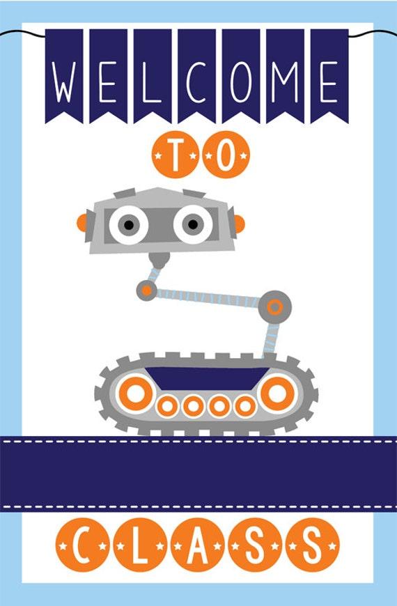 Robot Classroom Decor : Robot theme classroom decor teacher welcome sign magnet