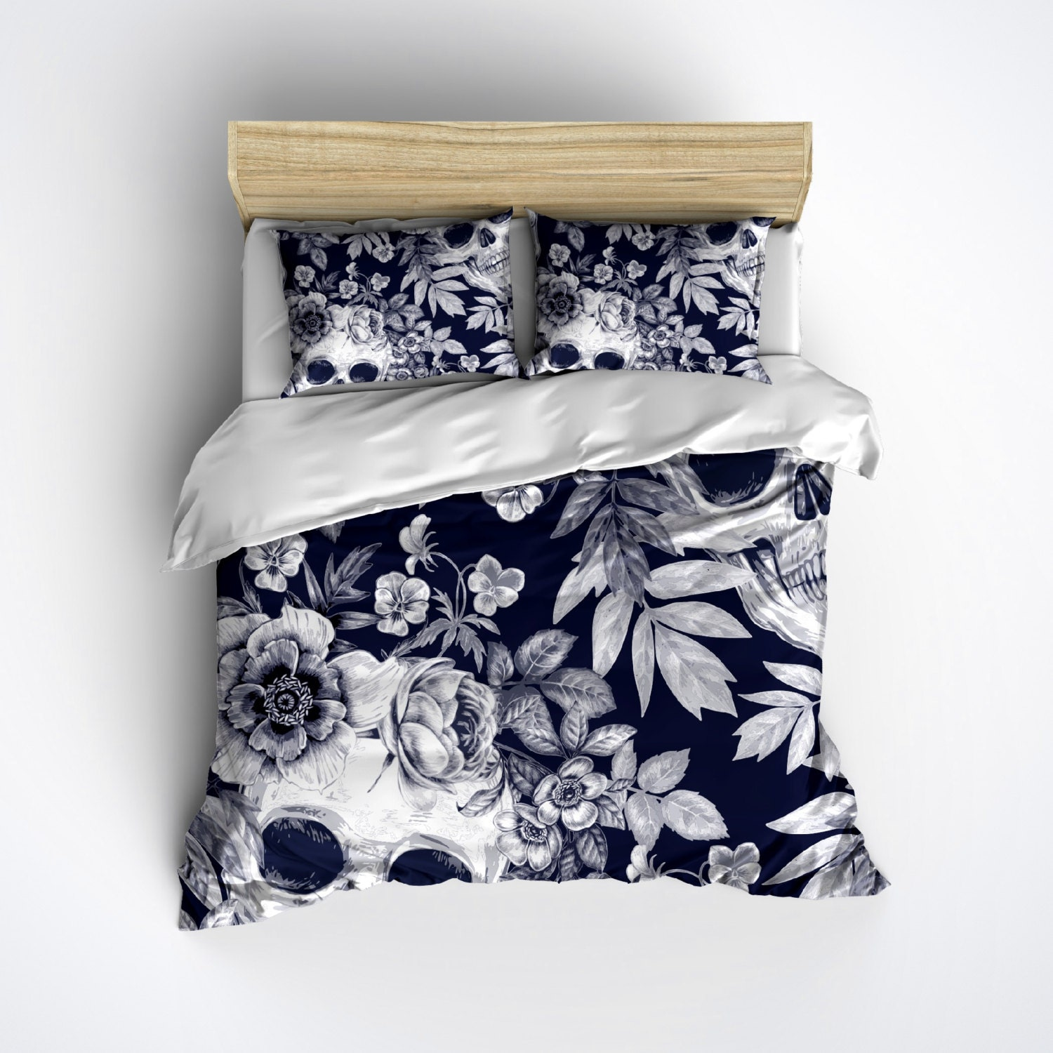 Fleece Skull Bedding BLUE Print with Detailed by InkandRags