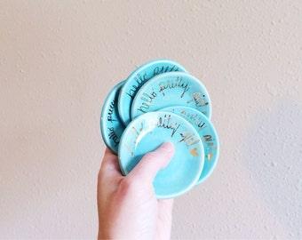 Hello Pretty Girl - Ring Dish - Ring Holder - Gold Ring Dish - Jewelry Dish - Gold Ceramics