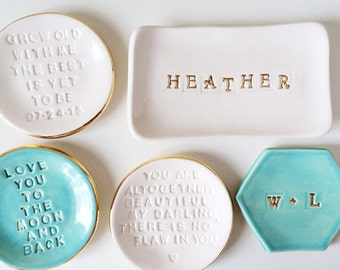 Name Ring Rish - Personalized Dish - Monogram Gifts - Personalized Gifts - Custom Ring Dish - Wedding Gifts - Personalized Ring Holder