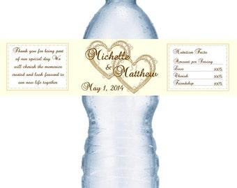 49 Double Heart Wedding Water Bottle Labels