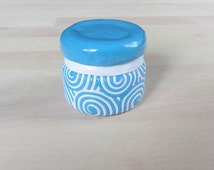 Blue and White Upcycled small 1 ounce glass jam jar, Polymer Filigree container, storage jar, stash jar, candy jar, gift jar