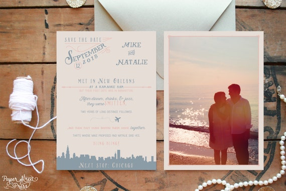 custom love story save the date with photo by paperstreetpress