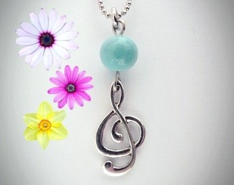 Music Note Necklace, Music Bead, Silver Necklace, Glass Bead, Treble Clef pendant necklace, Other Colours too,