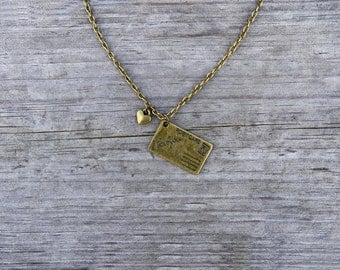 Love letter necklace - rustic jewelry, love charm, vintage necklace, bronze layering, envelope necklace, friend necklace * FREE SHIPPING