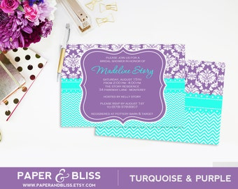 Purple Damask & Turquoise Chevron - Invitation - Bridal Shower - Baby Shower - Wedding Shower
