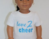 """Cheerleader Outfit for American Girl 18"""" Dolls-- T-Shirt in Turquoise and White"""