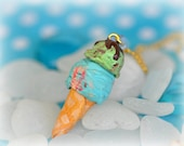 Ice Cream Necklace - Bubble Gum and Pistachio Ice Cream - Polymer Clay Necklace