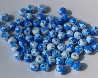 65 glass beads, 6 mm speckled blue and white, round and smooth, bubblegum style beads, baking painted, hole 1.3-1.6 mm