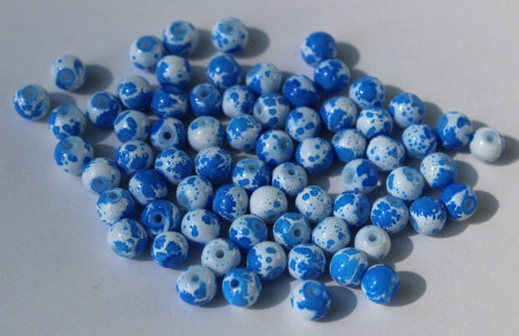 65 Glass Beads 6 Mm Speckled Blue And White Round And